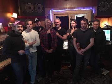 Derek at The Tragically Hip's studio The Bathouse recording with Colin Cripps and Amanda Rheaume's band. Gord Sinclair from The Tragically Hip on the right